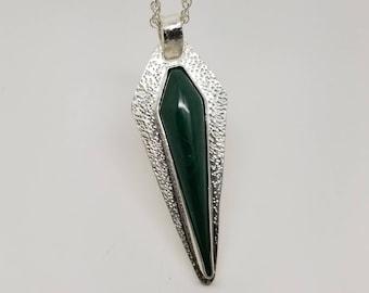 "Malachite gemstone 925 sterling silver textured metal ""dagger"" pendant necklace"