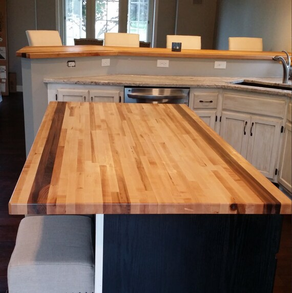 Maple & Walnut Butcher Block Kitchen Table Top - 1.5\