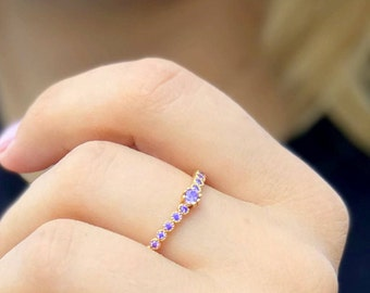 Amethyst ring Stacking ring bezel ring gemstone multistone ring birthstone ring slim ring thin ring women jewelry delicate ring bridal ring