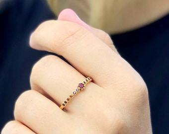 Garnet ring Stacking ring Gold fill ring promise ring gemstone ring multistone ring birthstone ring  bezel ring