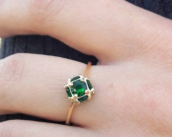 Gold birthstone ring emerald gemstone ring gold jewelry for women  personalized ring thin dainty slim ring e379dfd0ee