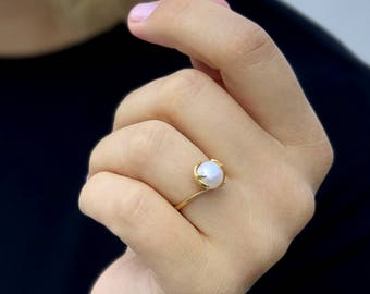 Gold Pearl Ring Etsy