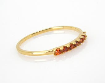 Garnet ring gemstone ring Stackable ring birthstone stacking ring gold jewelry for women thin slim dainty ring