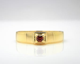 Gemstone ring garnet ring January birthstone ring gold jewelry for women gold band ring simple delicate ring red stone ring