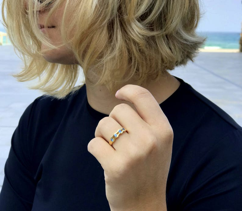 Gemstone ring gold stack blue topaz ring blue stone ring simple everyday Stacking ring birthstone ring delicate ring blue stone ring