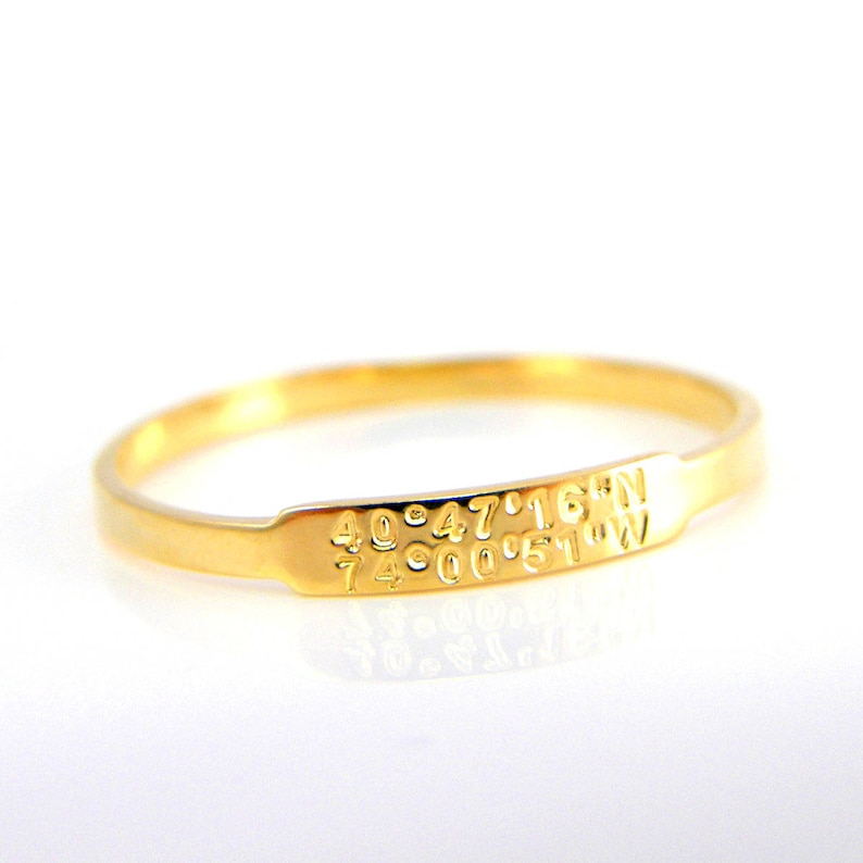 Stackable Rings Personalized Ring Dainty Ring Stacking Rings Longitude Latitude Coordinate Ring Latitude Longitude Ring