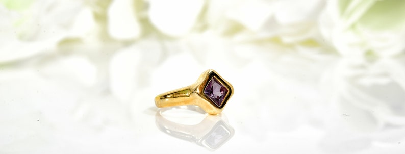 Amethyst ring gold gemstone ring purple stone ring birthstone ring mothers rings simple delicate ring unique ring gold jewelry for women