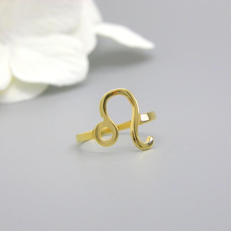 Leo Zodiac ring Custom Zodiac jewelry Stacking 14k gold Constellation Ring  horoscope rings
