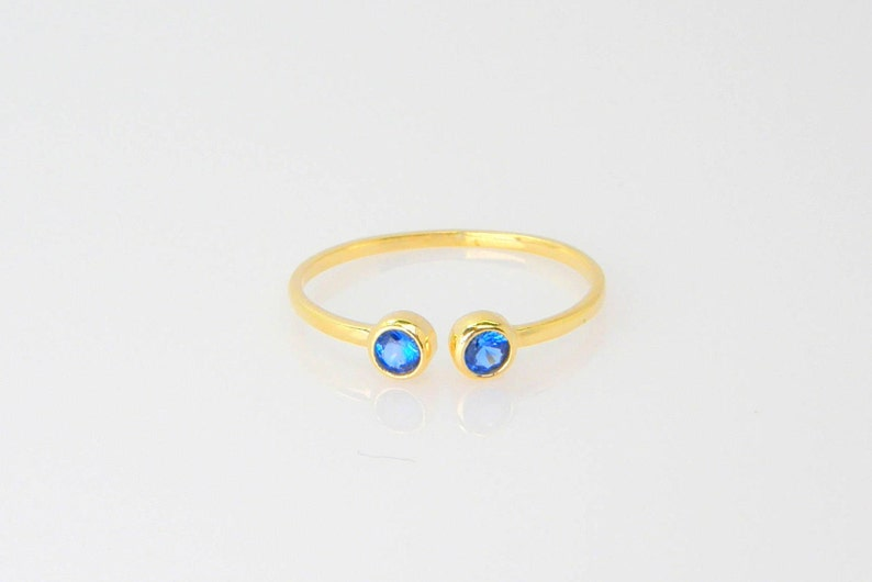 Blue Topaz ring two birthstone ring stacking multistone gemstone ring dual birthstone ring stackable rings for women blue stone ring