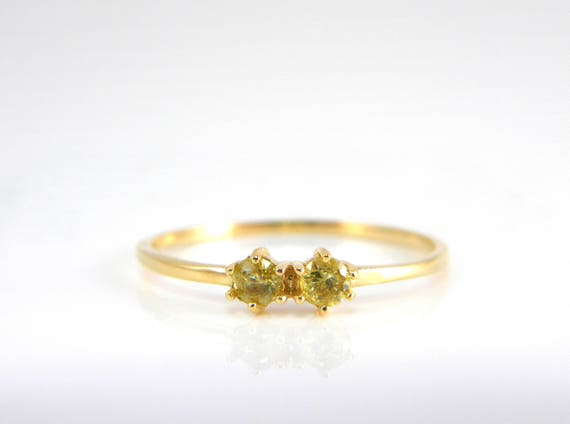 birthstone ring two stone gold ring stack gemstone ring clear quartz ring