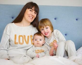 c223edf4c1 Valentines matching mum and baby pyjamas LOVE design - matching pyjama set