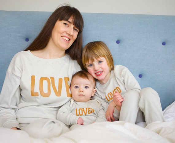 dc830ea84a Matching mum and baby pyjamas LOVE design matching pyjama | Etsy