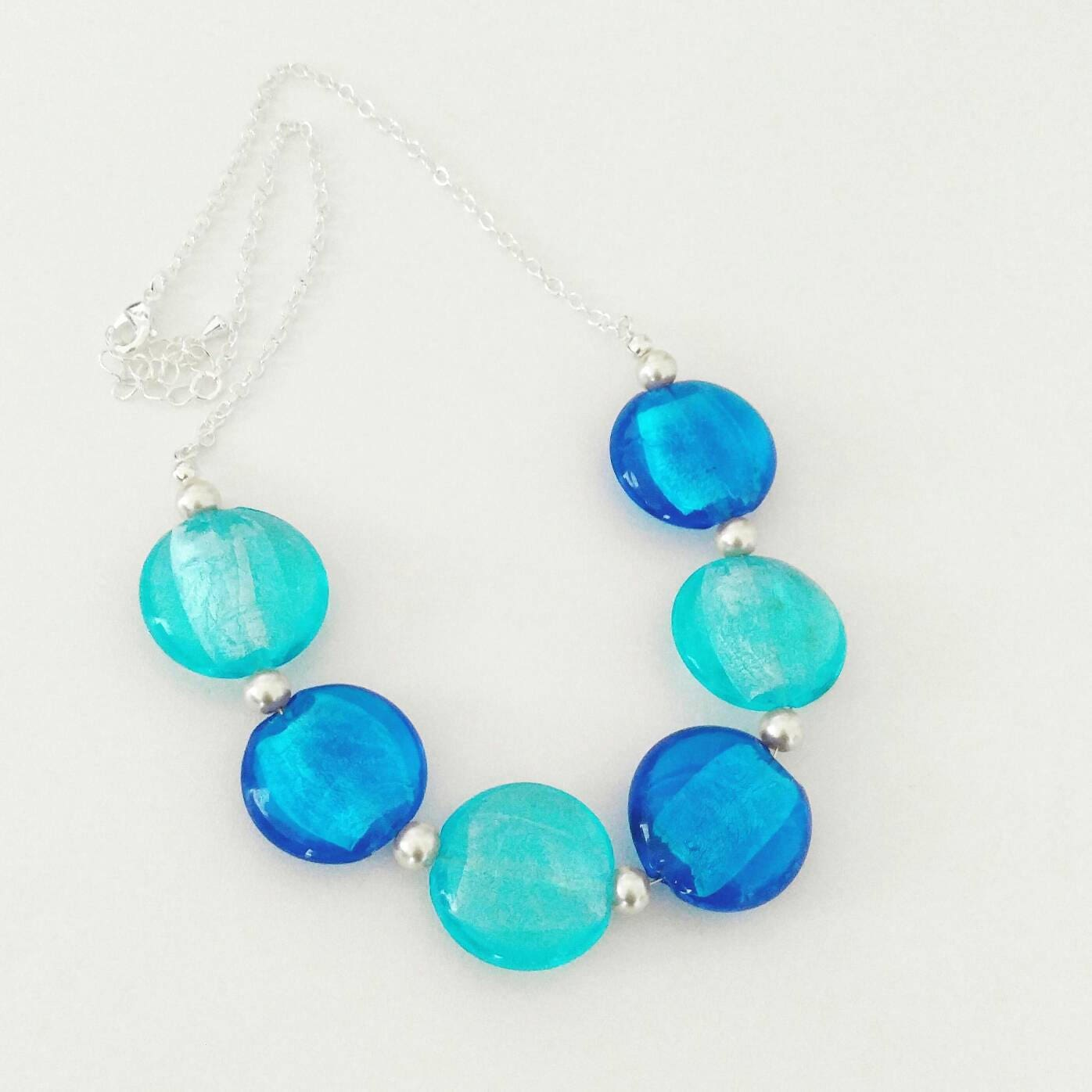 Handmade Beaded Statement Necklace,Blue Glass Beads,Pearls,Handmade ...