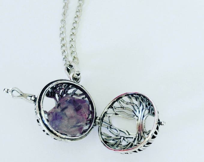 Necklaces a feather butterflymething beautiful tree of life locket necklace crystal holder gemstone holder memory pendant tree aloadofball Gallery