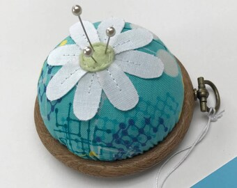 Flower Pin cushion - Turquoise, navy, white & yellow