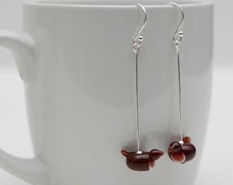Handmade Glass Robin Earrings