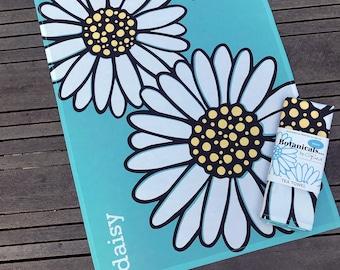 Bright & Bold Daisy print tea towel/ Drying up Cloth