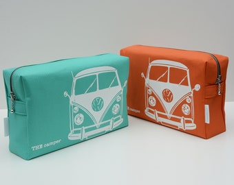 Hand Screen Printed Wash Bag with classic camper illustration
