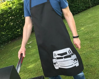 Hand screen printed apron with classic Mini design