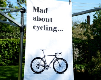 Hand screen printed tea towel with cycling designs/ Drying up Cloth