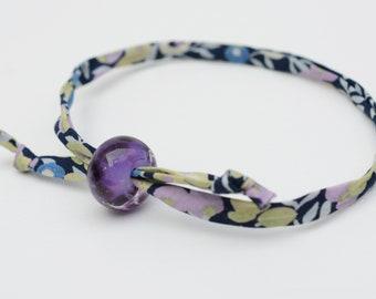 Liberty cord bracelet with handmade deep purple glass bead