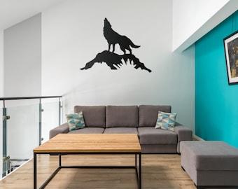 Metal Wall Art Decor | Howling Wolf Metal Art Wall Decor Hanging Black Sign