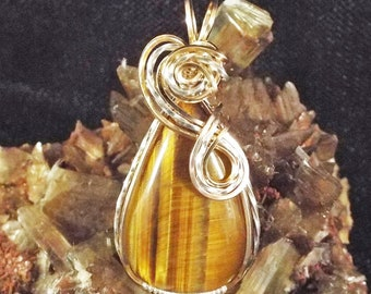 Gold/Yellow Tigers Eye 14K Gold Filled & Sterling Silver Wire-Wrapped Pendant with chain included - item #1370