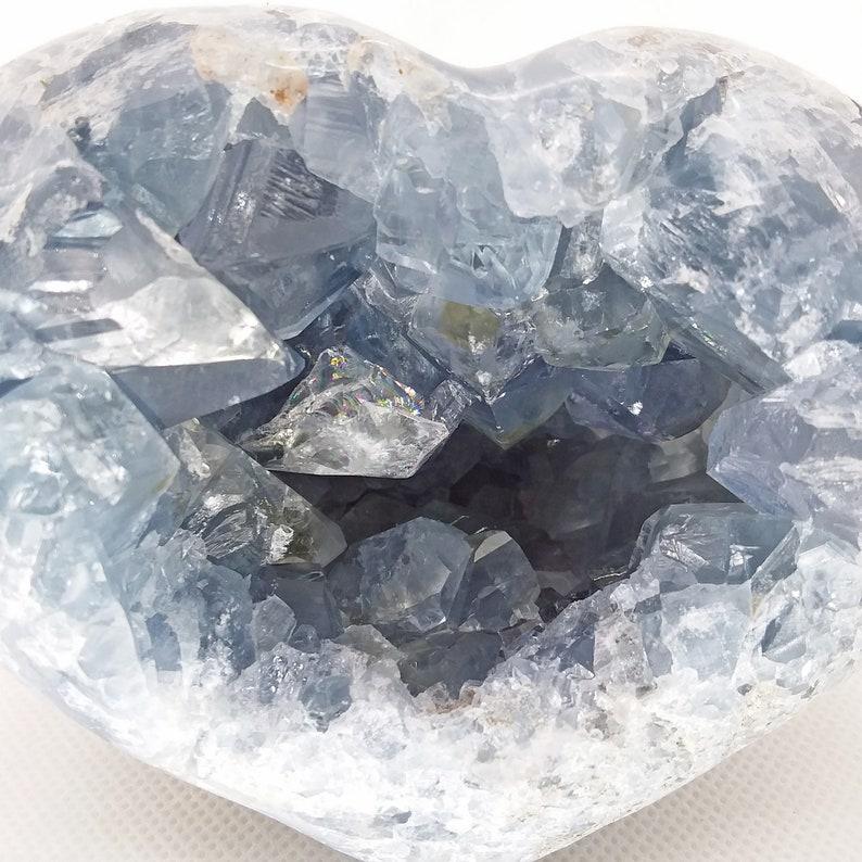 #R-1709 blue Celestite heart specimen mineral rock display cluster