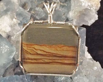 Blue, Brown, Tan Oregon Picture Jasper Sterling Silver Wire-Wrapped Pendant with chain included - item #1311