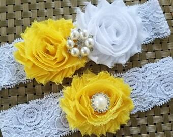 dd88e768f YELLOW and WHITE Wedding Garter Set