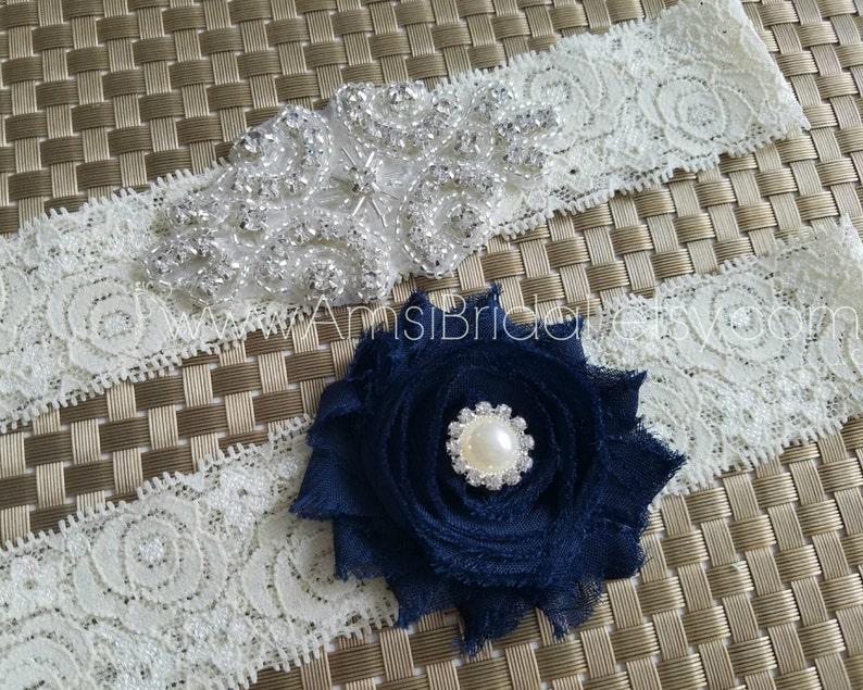 Navy Garters Set Rhinestones Wedding Garter Ivory and Navy Blue Flower garter set Ivory and Navy Blue Wedding garters Navy Bridal garters