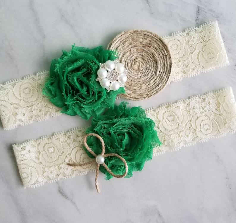 62782471eac Rustic Wedding Garter Emerald Green Green Garter Belt Green
