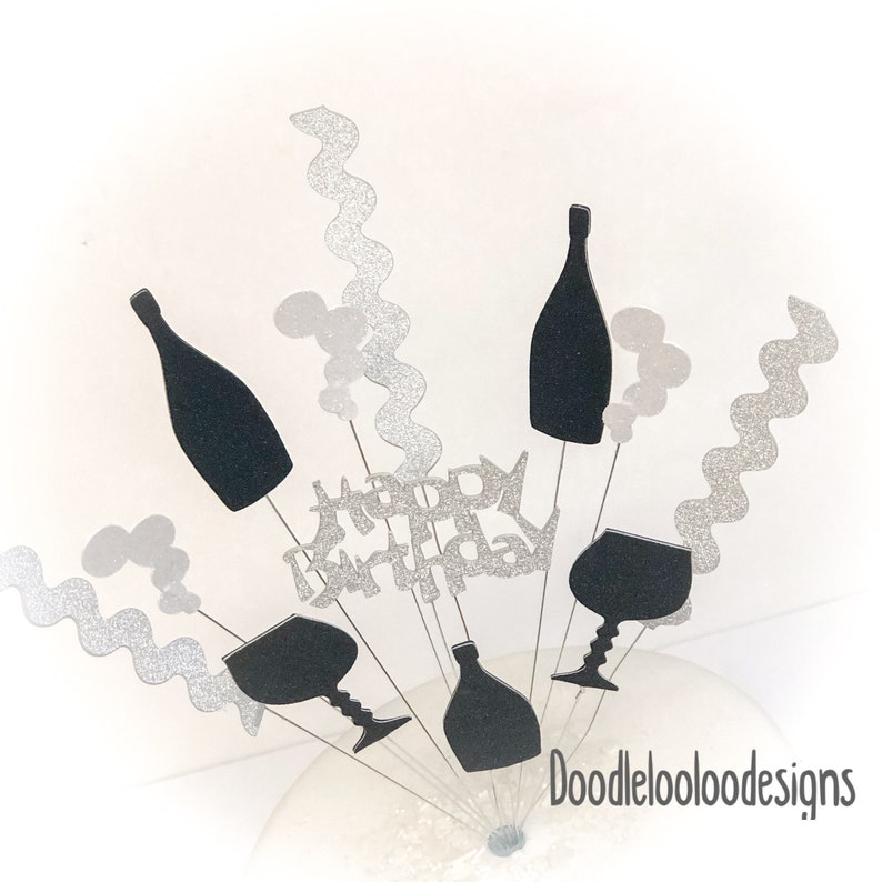 Silver and black bottles and glasses Happy birthday glitter card cake topper