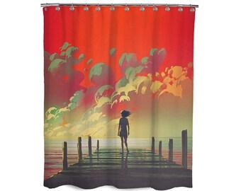Modern Boho Palm Tree Beach Seascape Waterproof Bath Drape Shower Curtains DIY