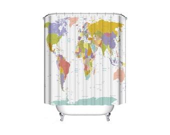World Map Shower Curtain Bathroom Waterproof Liner Earth Print Design