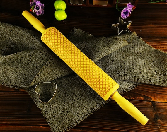 Engraved Embossing Rolling Pin Embossed Clay Roller Stamp Embosser EWRP517 Cookie House Warming Gift for Baker