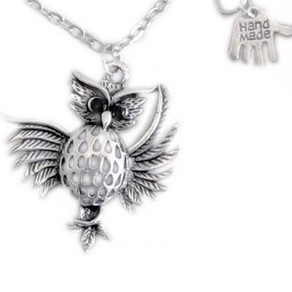 Silver Owl Open Wings Wings Feather Owl Long Necklace Etsy