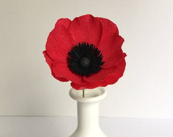 Crepe paper flowers etsy crepe paper anemone red single stem paper flowers wedding events home decor gifts mightylinksfo