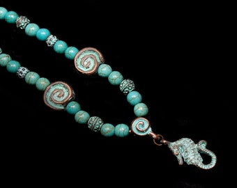 Patina Seahorse Pendant and Spiral Beads on Turquoise Beaded Necklace