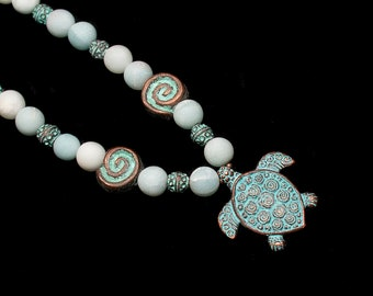 Amazonite Beaded Necklace with Patina Turtle Pendant and Spiral Beads
