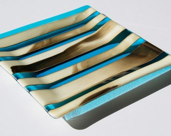 Square Striped Plate with Turquoise, Brown, and Vanilla Swirls by Artist, Bonnie Pelnar Dietz