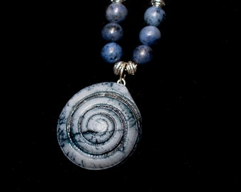 Great with Blue Denim! Lapis Lazuli Beads with Porcelain Spiral Shell Pendant with Octopus Charm