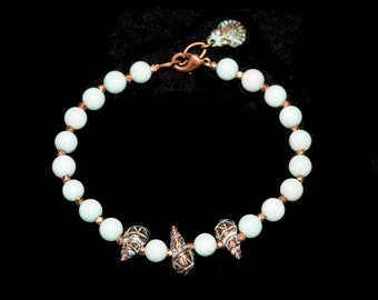 Amazonite Bracelet with Patina Shell Beads and Charm