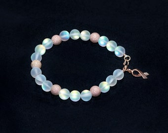Mermaid Glass with 14K Rose Gold Filled Sparkle Beads Rose Gold Vermeil Findings and Cancer Ribbon Charm