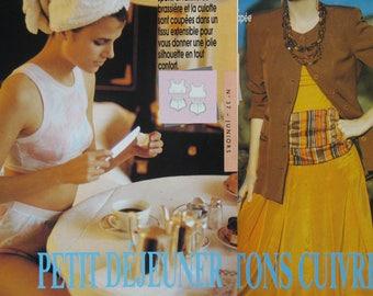 Pattern 2 women models: 1 set of lingerie and 1 set jacket + skirt, front and back patterns