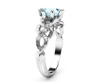 Blue Moissanite Engagement Ring White Gold Ring Twig Engagement Ring