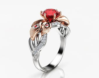 Floral Ruby Engagement Ring in 14k Two Tone Gold Calla Lily Natural Ruby Ring 1ct Ruby Diamond Ring