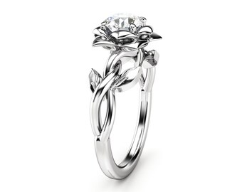 Blue Diamond Engagement Ring White Gold Ring Rose Engagement Etsy