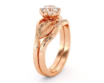 Leaf Engagement Ring Set  14K Rose Gold Ring  Unique Moissanite Engagement Rings