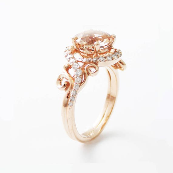 14k Rose Gold Engagement Ring Rose Gold Morganite Ring Peach Etsy